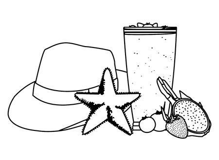 summer beach and vacation with tropical smoothie, starfish, panama hat, pitahaya, bluberries and strawberry icon cartoon in black and white vector illustration graphic design