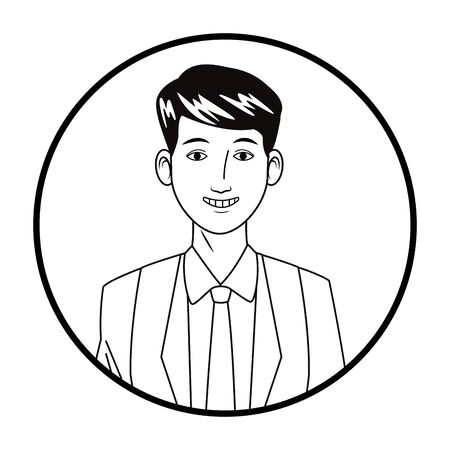 businessman wearing suit and smiling avatar cartoon character profile picture portrait round icon black and white vector illustration graphic design Ilustracja
