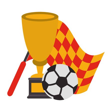 Soccer trophy cup tournament with referee flag and ball vector illustration graphic design
