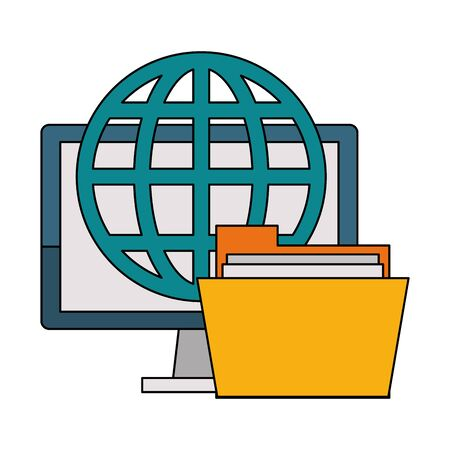 Office and business technology symbols computer and folder global sphere vector illustration graphic design