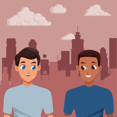 Young male couple smiiling and walking cartoon in the city urban background ,vector illustration. Ilustracja