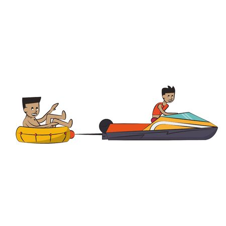 Water sport man seated on float and boat pulling vector illustration graphic design  イラスト・ベクター素材