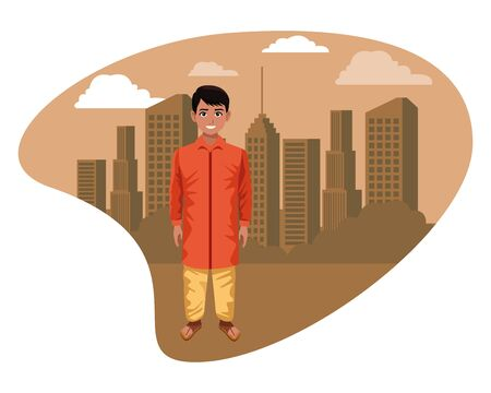 indian young boy wearing traditional hindu clothes profile picture avatar cartoon character portrait outdoor over the sand Иллюстрация