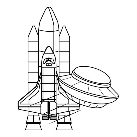 space exploration flying saucer and space shuttle in black and white icon cartoon vector illustration graphic design