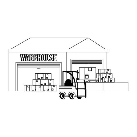 Warehouse storage with boxes and forklift vector illustration Illustration