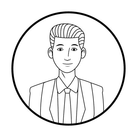 businessman wearing suit avatar cartoon character profile picture portrait round icon black and white vector illustration graphic design