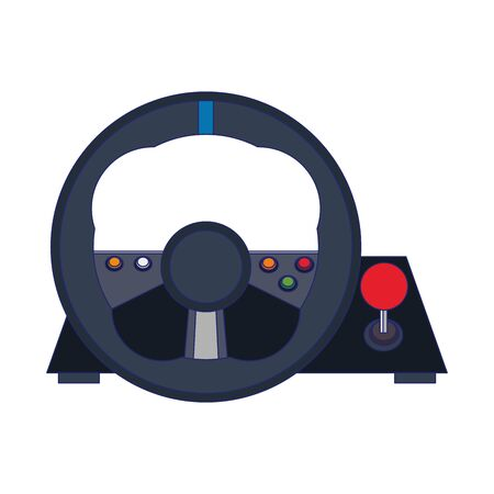 Videogame steering wheel console controller isolated vector illustration graphic design Foto de archivo - 129240072