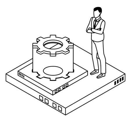 technology businessman with connectivity gadgets digital symbols vector illustration graphic design