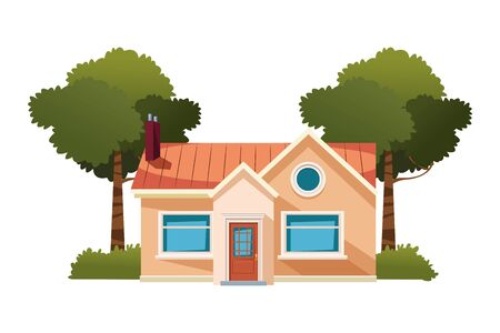 house building with trees isolated icon cartoon vector illustration graphic design Stock Illustratie