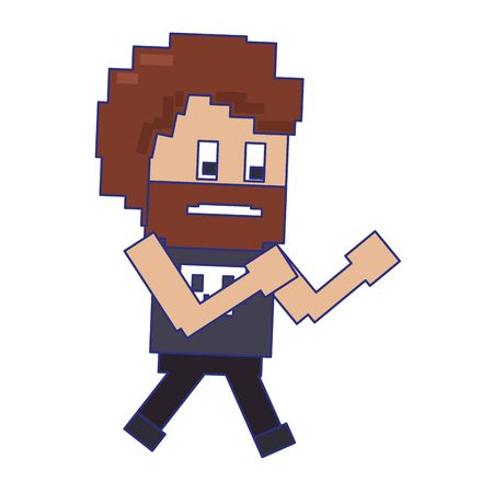 Retro videogame tough guy character pixelated cartoon vector illustration graphic design