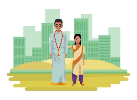 indian family man with moustache, glasses and a big necklace next to young girl with sari and bindi wearing traditional hindu clothes profile picture avatar cartoon character.