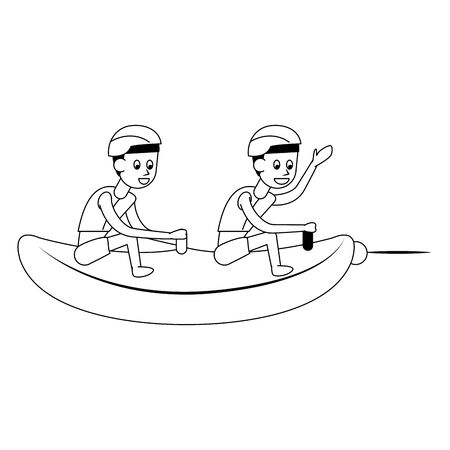 Deporte acuático dos hombres con cascos en banana flotador ilustración vectorial diseño gráfico Ilustración de vector