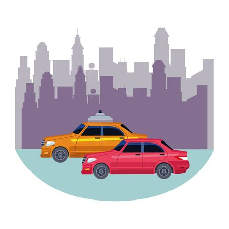 taxi cars public transport service in urban city cartoon vector illustration graphic design