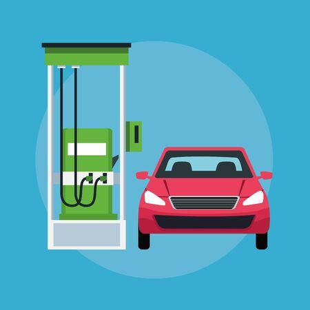 car in a gas station cin round icon icon cartoon vector illustration graphic design Stock Illustratie