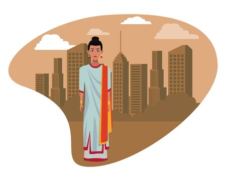 indian woman with sari wearing traditional hindu clothes profile picture avatar cartoon character portrait outdoor over the sand