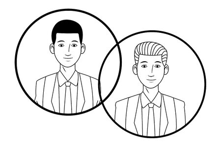 two businessmen afroamerican wearing suit avatar cartoon character profile picture portrait in round icons black and white vector illustration graphic design