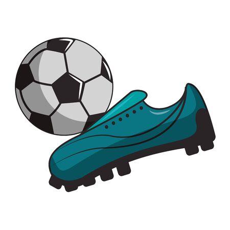 Soccer sport game boot kicking ball isolated vector illustration graphic design Ilustração
