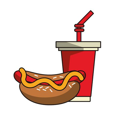 Hot dog and soda cup fast food vector illustration graphic design