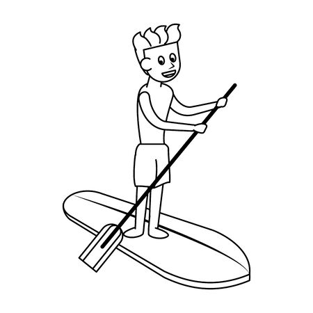Water extreme sport man on surf table with rowing cartoon isolated vector illustration graphic design Stock Illustratie
