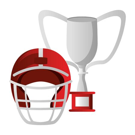 american football sport game champion trophy with player helmet cartoon vector illustration graphic design