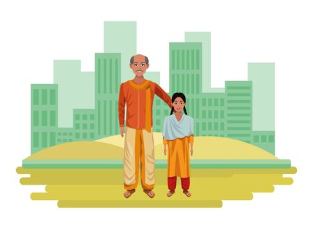 indian family man with moustache and bald next to young girl with braid wearing traditional hindu clothes profile picture avatar