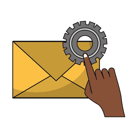 Email technical support hand with gear symbols isolated vector illustration graphic design Çizim