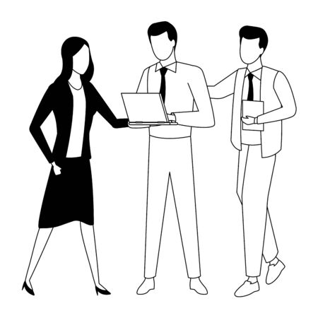 Business partners working with office documents and laptops in black and white isolated faceless avatar vector illustration graphic design