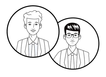 two businessmen wearing suit and glasses and smiling avatar cartoon character profile picture portrait in round icons black and white vector illustration graphic design