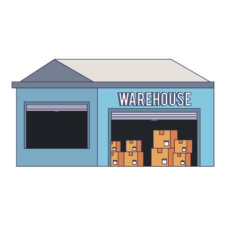 Warehouse storage with delivery boxes inside vector illustration Illustration