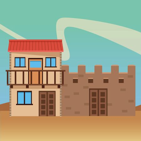 mexican traditional culture with traditional mexican house building and mexican castle icon cartoon in the desert over the sand vector illustration graphic design Фото со стока - 129240356