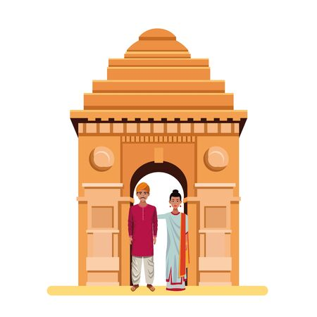 indian couple wearing traditional hindu clothes man with moustache and turban and woman with sari and jewelry and indian monument gateway of india  イラスト・ベクター素材