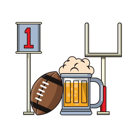 American football goal poster ball and beer cup cartoons vector illustration graphic design Foto de archivo - 129240614