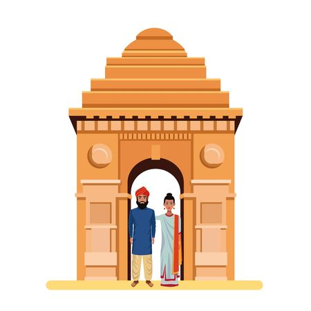 indian couple wearing traditional hindu clothes man with beard and turban and indian monument gateway of india behind profile picture