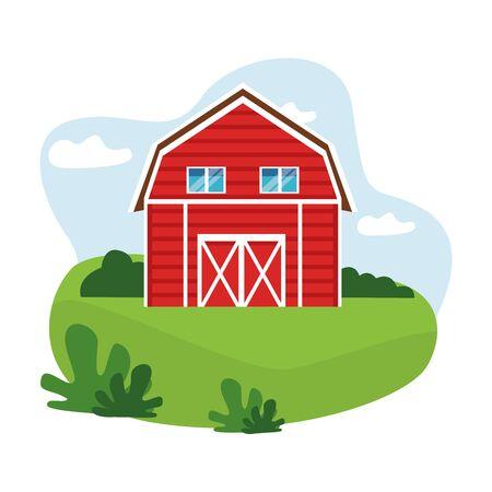 fattoria, animali e agricoltore icona fienile cartone animato sopra l'erba con cespuglio e nuvole illustrazione vettoriale graphic design Vettoriali