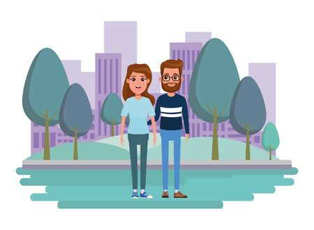couple avatar man with beard and glasses and brunette woman profile picture cartoon character portrait outdoor colorful