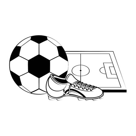 Soccer football sport game ball and boot with playfield vector illustration graphic design