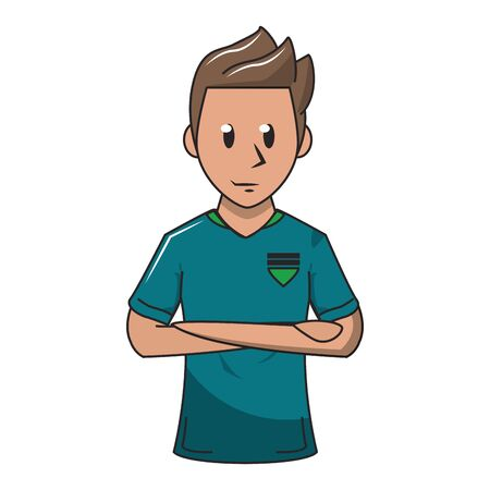 Soccer player with arms crossed profile cartoon vector illustration graphic design Фото со стока - 129240938