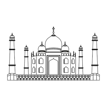indian building monuments with taj mahal icon cartoon vector illustration graphic design