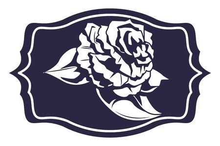 rose with leaves into a frame drawn in black and white tattoo icon vector illustration graphic design Иллюстрация
