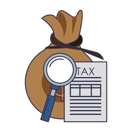 state government tax business balance calculation work personal finance elements cartoon vector illustration graphic design Ilustração
