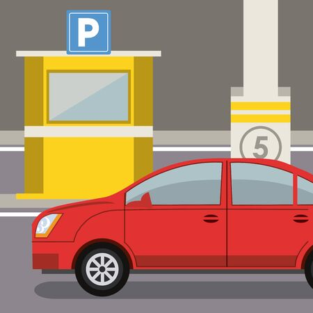 Car parked in lot with parking meter at city vector illustration graphic design