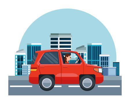 Mujer conduciendo dibujos animados de sideview de vehículo SUV en la ciudad, fondo de paisaje urbano, diseño gráfico de ilustración vectorial. Ilustración de vector