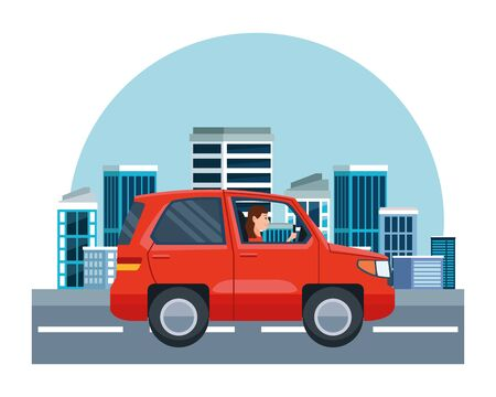 Woman driving SUV vehicle sideview cartoon on the city, urban scenery background ,vector illustration graphic design.