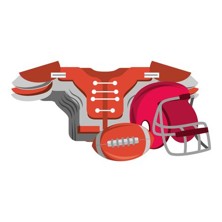 american football sport game helmet with shoulder pad and ball cartoon vector illustration graphic design