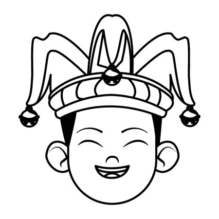 boy smiling and wearing jester hat with bells avatar cartoon character black and white vector illustration graphic design