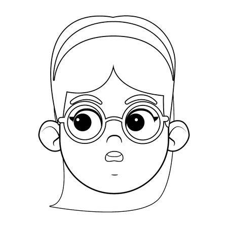 girl wearing glasses and bandana smiling face avatar profile picture cartoon character portrait in black and white vector illustration graphic design Stok Fotoğraf - 129256852
