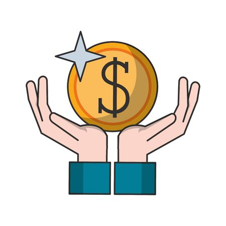 Hand with coin money symbol vector illustration graphic design