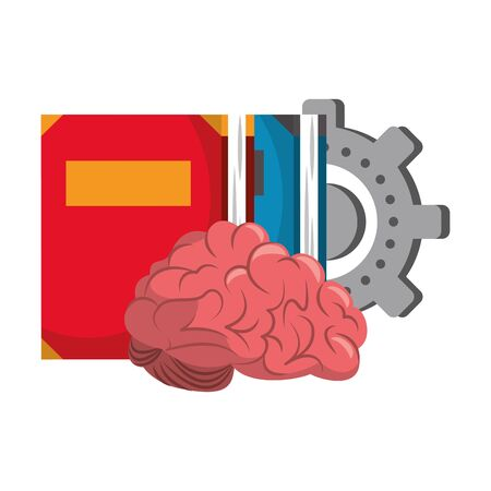 Brain with books and gear cartoons vector illustration graphic design