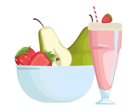 Natural strawberry juice cup and fruits in bowl vector illustration graphic design