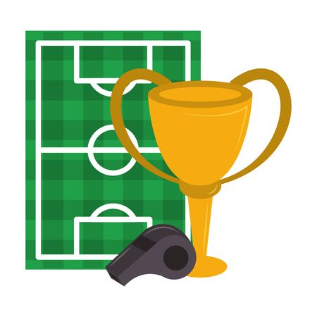 Soccer trophy cup tournament with whislte and playfield vector illustration graphic design Foto de archivo - 129238102
